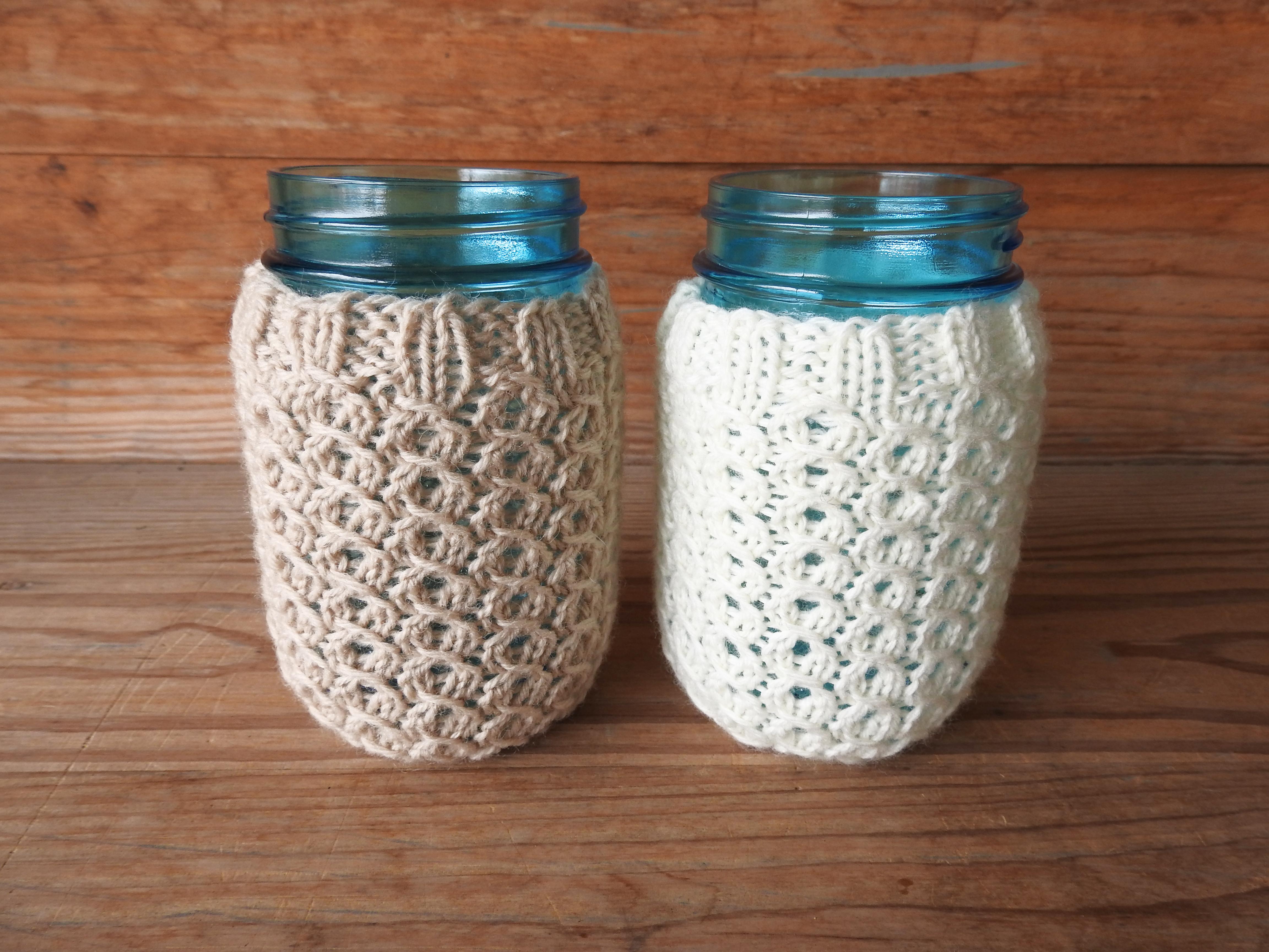Hand Crocheted Pint Mason Jar Beverage Cozies And Drinking Glass